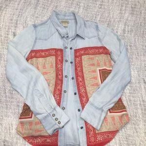 Lucky brand chambray bandana button down xs